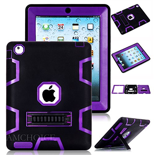 iPad 4 Case,iPad 3 Case AMCHOICE(TM) Full Body Hybrid Silicone&PC 3 Layer High Impact Resistant Armor Defender Cover For Apple iPad 2//3/4 (Black+Purple) [Free Stylus]