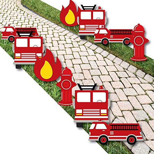 Fired Up Fire Truck - Lawn Decorations - Outdoor Firefighter Firetruck Baby Shower or Birthday Party Yard Decorations - 10 Piece]()