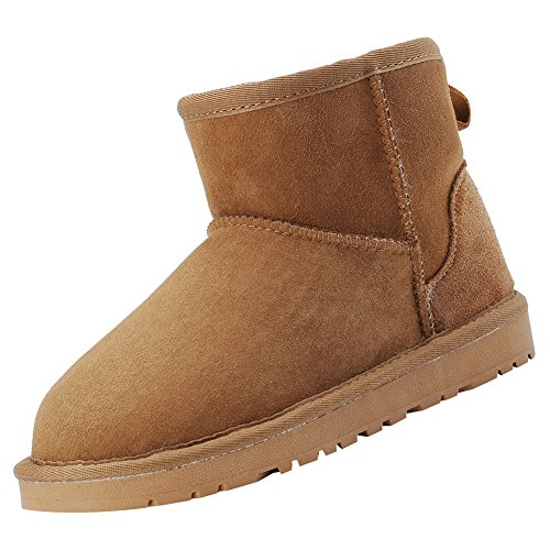 Ankle Classic Warm High Snow Leather rismart Camel Suede Women's Boots Winter CXwq5I