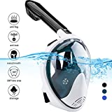 Naedw Full Face Snorkel Mask 180° Panoramic View Diving Scuba Mask Easy breath with Anti-Fog and Anti-Leak with Adjustable Head Straps Design for Adults,Youth,kids (White/Dark green, Large)