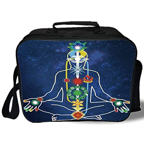 Pearl Toronto Blue (Insulated Lunch Bag,Yoga,Scheme of Power Body of a Person Transcendence Spirituality Meditating,Dark Blue Green Red Yellow,for Work/School/Picnic, Grey)