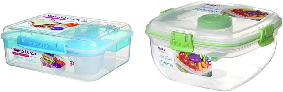 Sistema To Go Collection Bento Box Plastic Lunch and Food Storage Container, 55.7 Ounce, Multi Compartment (Color May Vary) & Food Storage Container, 4.6 Cup