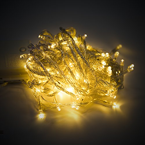 100 LED 33FT/10M Fairy String Light Decorative String light for Party Christmas Holiday 8 Modes with Remote Control Waterproof Copper Wire Lights for Patio Backyard Decoration (Warm White)