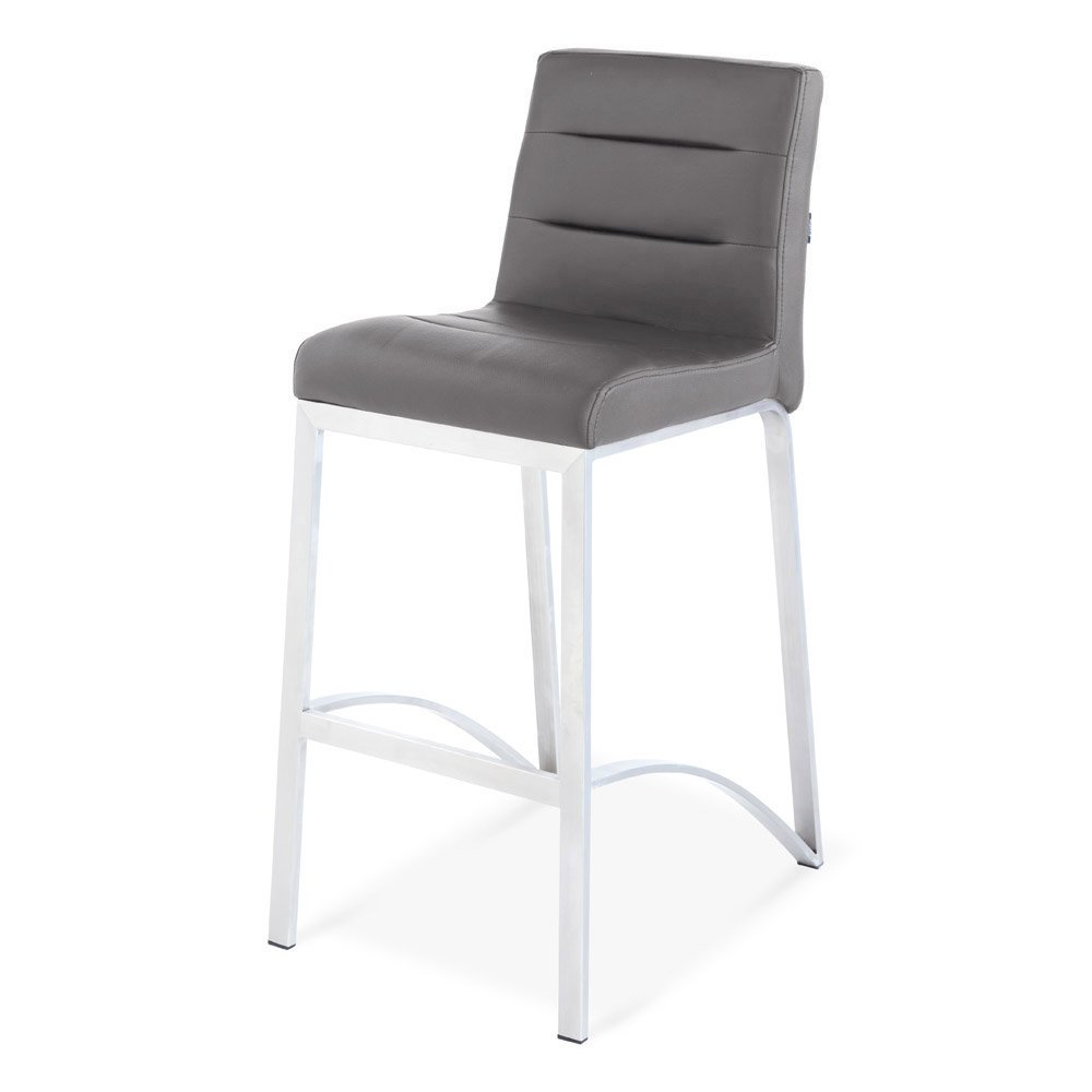 Zuri Furniture Lynx Counter Height Contemporary Bar Stool with Metal Base - Slate