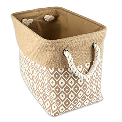 """DII Collapsible Burlap Storage Basket or Bin with Durable Cotton Handles, Home Organizational Solution for Office, Bedroom, Closet, Toys, & Laundry (Large - 18x12x15""""), Brown Ikat - LARGE BIN - 17.75x12x15"""" with O-ring and thick, sturdy material that holds shape and gives structure, simply collapse bin and store when not in use STYLISH FOR ANY ENVIRONMENT - These bins are available in fun, trendy and adorable styles and colors, a perfect addition to a nursery, home office, craft room, or to add a splash of color to any room while also being functional ORGANIZATIONAL SOLUTION FOR THE HOME - Find a place for knick knacks, children's' toys, magazines, craft supplies, and more with these sturdy, everyday bins that can be tucked away in closets, side tables, under beds, in storage cubes, or a shelf - living-room-decor, living-room, baskets-storage - 51EfOGGt1FL. SS400  -"""