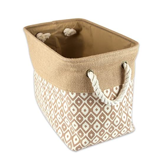 "DII Collapsible Burlap Ikat Storage Bin, Large, Brown - LARGE BIN - 17.75x12x15"" with O-ring and thick, sturdy material that holds shape and gives structure, simply collapse bin and store when not in use STYLISH FOR ANY ENVIRONMENT - These bins are available in fun, trendy and adorable styles and colors, a perfect addition to a nursery, home office, craft room, or to add a splash of color to any room while also being functional ORGANIZATIONAL SOLUTION FOR THE HOME - Find a place for knick knacks, children's' toys, magazines, craft supplies, and more with these sturdy, everyday bins that can be tucked away in closets, side tables, under beds, in storage cubes, or a shelf - living-room-decor, living-room, baskets-storage - 51EfOGGt1FL. SS570  -"