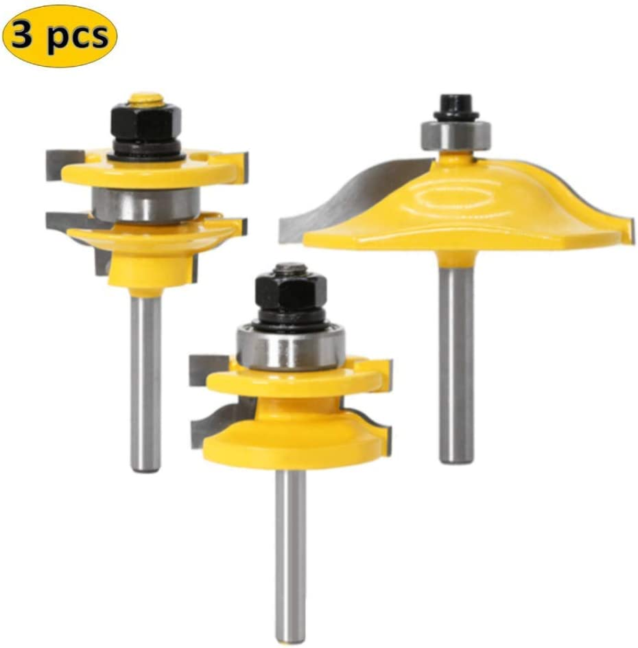 WSOOX 3 PCS Router Bit Set, 1/4-Inch Shank Round Over Raised Panel Cabinet Door Ogee Rail and Stile Router Bits, Woodworking Wood Cutter, Groove Tongue Milling Tool for Woodworking.