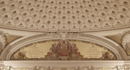 24 x 36 Giclee print of Second Floor Southwest Pavilion. Conquest mural by George W. Maynard in the Pavilion of the Discoverers. Library of Congress Thomas Jefferson Building Washington D.C. - West Side Pavilion