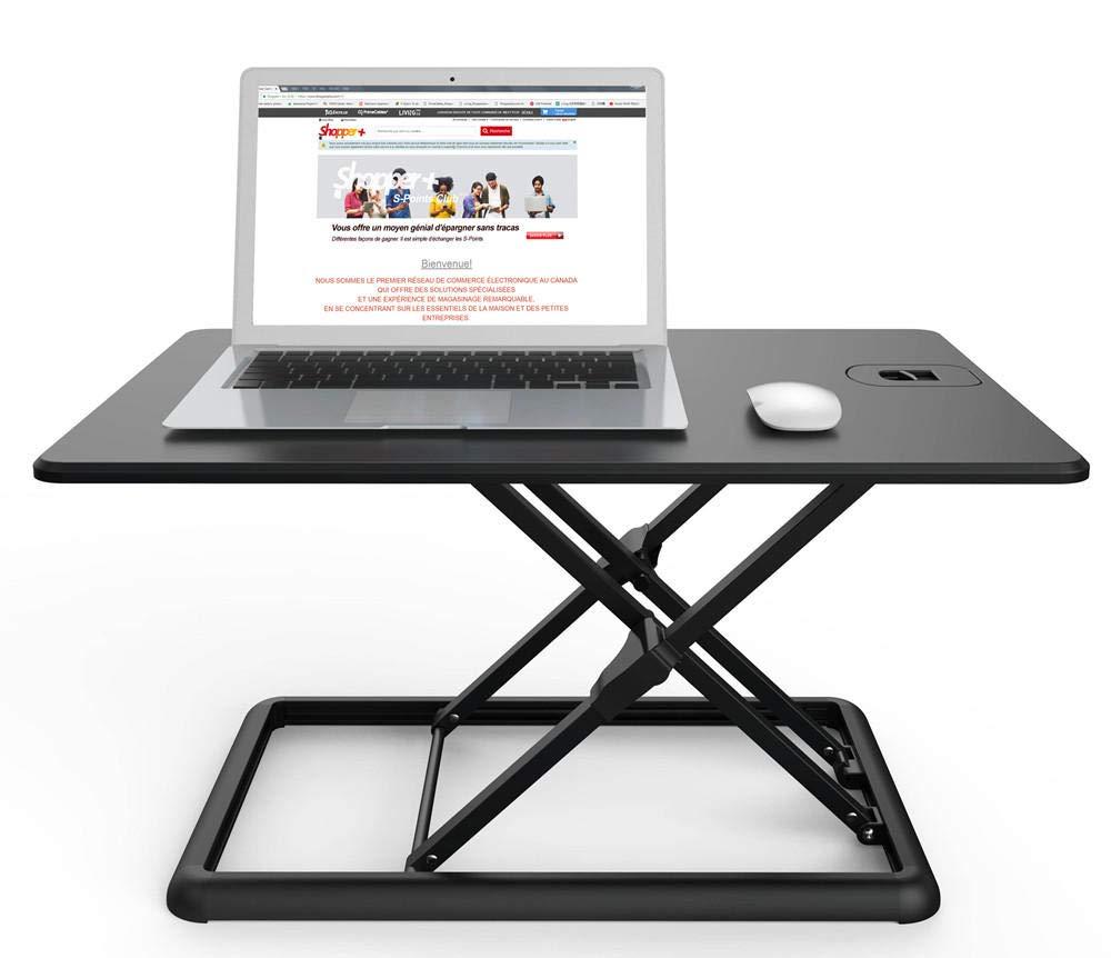 PrimeCables MT201 26 Height Adjustable Standing Desk - Ultra-Slim Sit-Stand Desk Converter, Lightweight, Sturdy (Aluminum Black Finish)