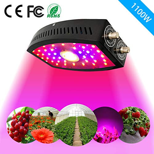 Phidon 1100W LED Grow Light Full Spectrum with Double Adjustable Switch Growing Lamps with Veg and Bloom for Indoor Plants and Greenhouse Basement Planting