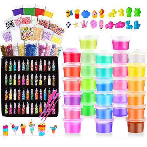 (Slime Kit, 135 Pack Slime Making Kit 30 Crystal Slime, Glitter Jars, Charms, Sugar Paper, Foam Beads, Fishbowl Beads, Toy Cups, Slices, Air Dry Clay and Tools for Kids Girls by WINLIP)