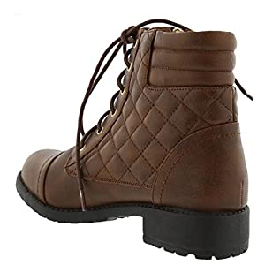 Top Moda Women's Quilted Military Combat Hiking Boot (10 B(M) US, Brown)