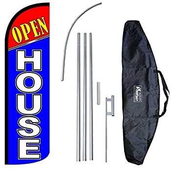 """OPEN HOUSE"" 12-foot KING SIZE Complete Swooper Feather Flag and Case Set...includes 12-foot Flag, 15-foot Pole, Ground Spike, and Carrying/Storage Case"