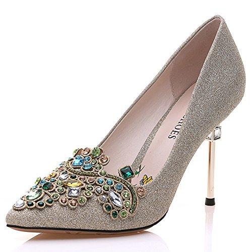 PUMPS Damen High Heels,Stiletto Spitze Schuhe,Diamant mit Hellem Gesicht Schuhe-A Fußlänge=21.8CM(8.6Inch)