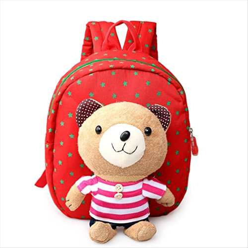 YST Cartoon Kindergarten Baby Shoulder Bag Children Safety Harness Backpack (Stripe Bear Red)