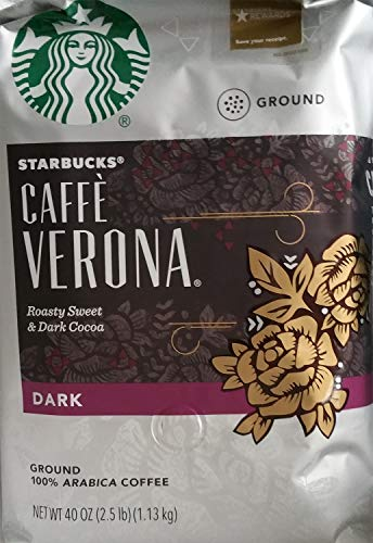 - Starbucks Caffe Verona Dark Roast Ground Coffee, Roasty Sweet & Dark Cocoa, 40 Ounce