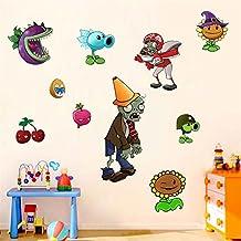 Fangeplus(TM) DIY Removable Plantsvs.Zombies Sunflower Snow Pea Cherry Bombs Art Mural Vinyl Waterproof Wall Stickers Kids Room Decor Nursery Living Room Decal Sticker Wallpaper 23.6''x11.8''