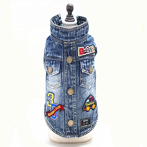 Ilistar Pet Dog Clothes Cat Blue Jean Denim Clothing Cute Puppy Coat Jacket Button Front Outfit (XXL (chest 48 cm)) by ilistar (Image #8)