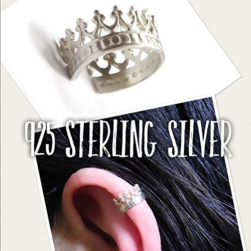 925 Sterling Silver Crown Ear Cuff Earring - Faux Piercing - No Piercing Required/Needed