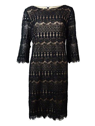 Jessica Howard Women's Lace Illusion Sleeve Dress, Black/Tan, 10