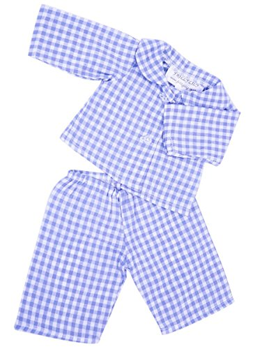 NEW! FRILLY LILY PALE BLUE CHECKED DOLLS PYJAMAS SMALL SIZE 14-18INS35-45 CM DOLLS AND BEARS SUCH AS 43 CM BABY BORN, TINY TEARS AND AMERICAN GIRL DOLL