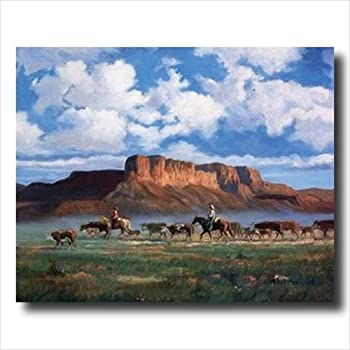 Cowboys Horses Cattle Western Landscape Animal Wall Picture Art Print