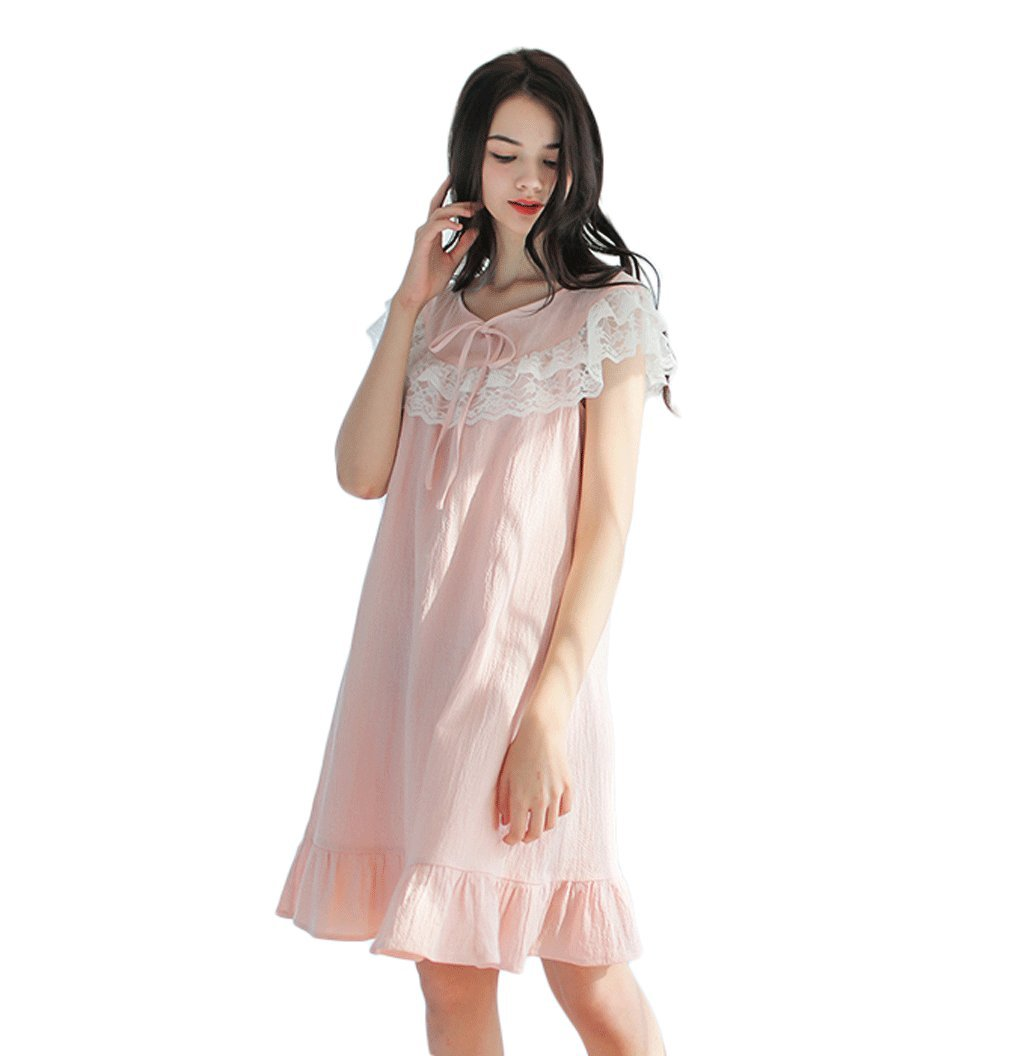 2bbb54fa00 Amazon.com  Summer cotton court sling sleeping dress cute home service  woman ( Color   Pink
