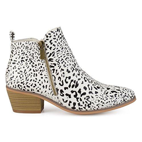 Animal Boot (Brinley Co. Womens Faux Leather Stacked Heel Side Zip Booties Animal, 11 Regular US)