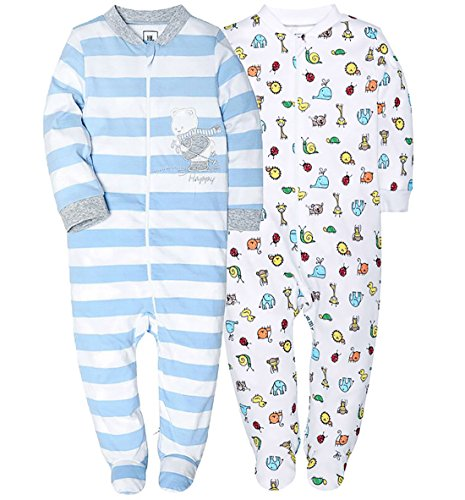 HONGLIN Footed Pajamas Baby Boys Girls Sleeper Long Sleeve 100% Cotton Zip Front Neutral (2-Pack-Stripes/Car, 12-18(Month))