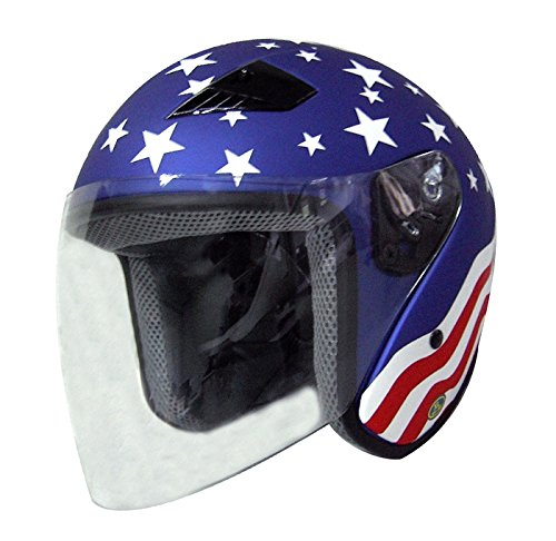 DOT Stars and Stripes Open Face Motorcycle Helmet with Flip-up Shield (Size 2XL, XX-Large) -