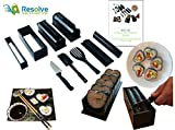 DIY Sushi Making Kit (10 Pieces) by Resolve | At Home Japanese Sushi Roll Maker Set for Beginners | 5 Unique Mold Shapes with Convenient Cutting Guide, Spatula and Rice Fork | Impressive Gift | White