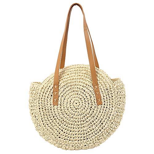 Olyphy Round Straw Shoulder Bag for Women, Weave Crossbody Bag Top Handle Handbag Summer Beach Purse (roundwhite)