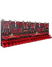 Opbergsysteem wandrek 230 x 78 cm, met gereedschapshouders, 46 stuks Stapelbakken, opslagrek, extra sterke wandplaten, uitbreidbaar rek, werkplaatsrek, opslagbakken, wandrek voor werkplaatsen.