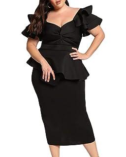1a8d75fff0b6d Lalagen Womens Plus Size Ruffle Sleeve Peplum Cocktail Party Pencil Midi  Dress
