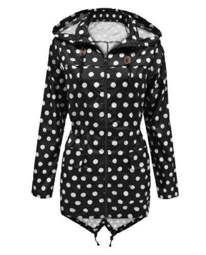 Black-White Polka Dot UK 14 - US10 - GG Women's Niko Polka Dot Parka Rain Ladies Jacket Coat