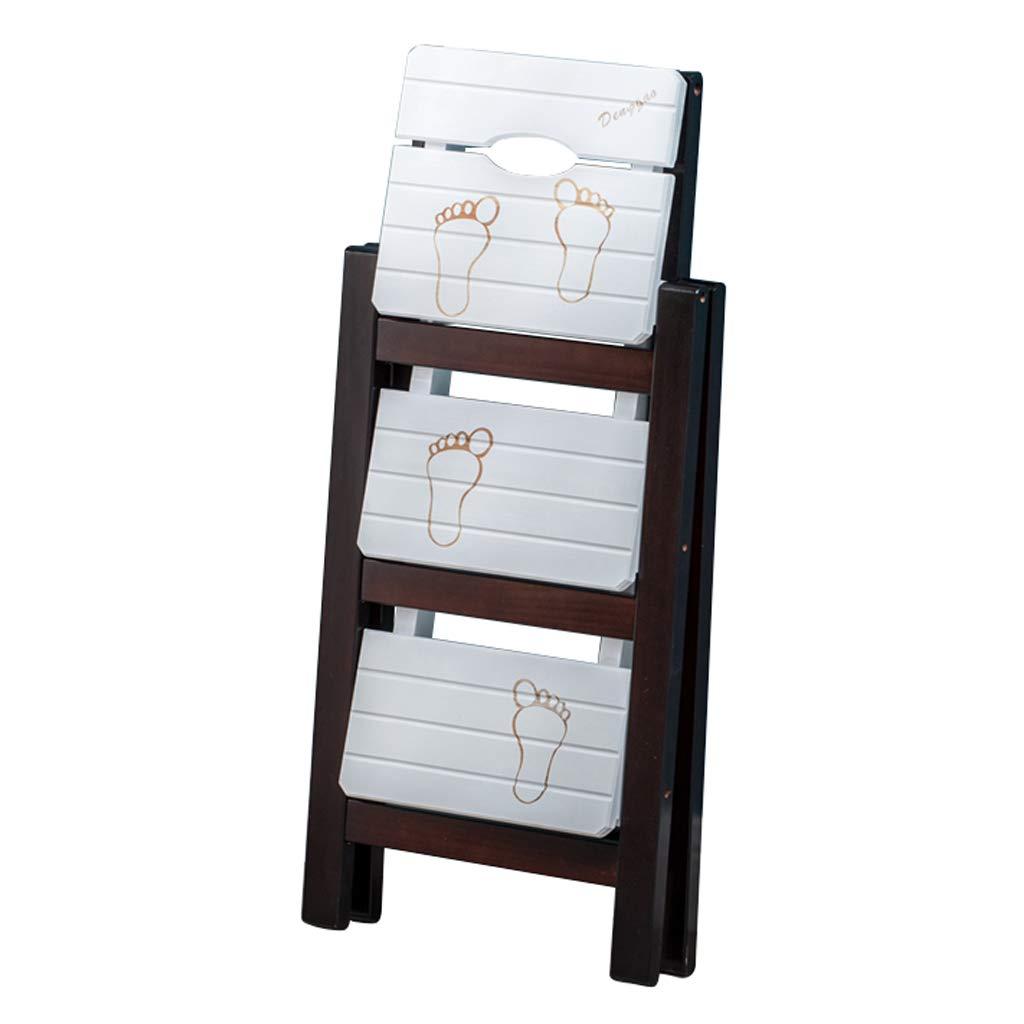 3層木製の階段椅子折りたたみステップスツール、ソリッドウッドクライムスツール脚立椅子、ポータブルはしご棚/オフィス/図書館、茶色と白   B07R4JFWX5