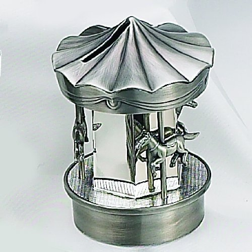 PEWTER/ SILVER CAROUSEL BANK - SILVERPLATE AND PEWTER FINISH CAROUSEL MONEY BANK by Elegance Silver