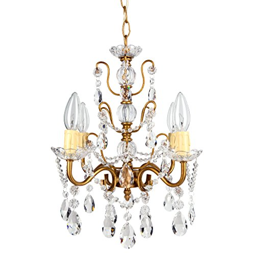 Madeleine Vintage Gold Crystal Chandelier, Mini Swag Plug-In Glass Pendant 4 Light Wrought Iron Ceiling Lighting Fixture Lamp