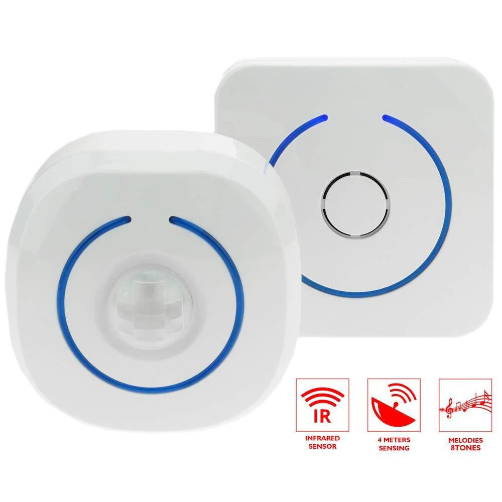 BeMatik - Detector de presencia inalámbrico acústico y luminoso con alcance de 60m y 8 tonos: Amazon.es: Electrónica