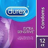 Condoms, Extra Sensitive Natural Latex Durex Condoms, 12 Count - Ultra Fine & Extra...