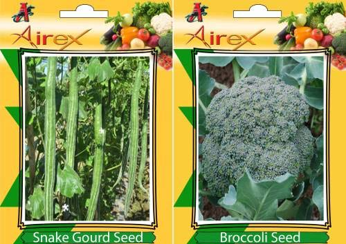 Shopmeeko Seed Snake Gourd and Broccoli Vegetables Seed + Humic (for Growth of All and Better Responce) 15 gm Humic + Pack of 10 Seed Snake Gourd + 30 Broccoli Seed Seed (30 per Packet)