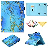"""lg g pad ii 8 3 lte Universal Case 7 inch Tablet,Uliking Folio Stand Cover Pencil Card Holder Samsung Galaxy Tab 2/3/4/A/E 7.0/Fire 7 Lenovo/Huawei/Asus Other 6.8"""" 6.5""""-7.5"""" Tablet, Blue Gold Marble"""