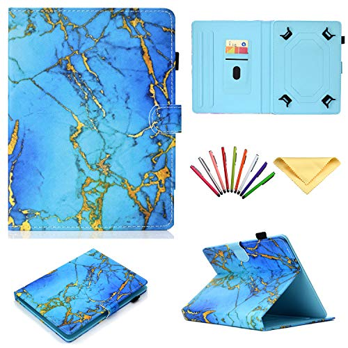 """Universal Case 7 inch Tablet,Uliking Folio Stand Cover Pencil Card Holder Samsung Galaxy Tab 2/3/4/A/E 7.0/Fire 7 Lenovo/Huawei/Asus Other 6.8"""" 6.5""""-7.5"""" Tablet, Blue Gold Marble"""