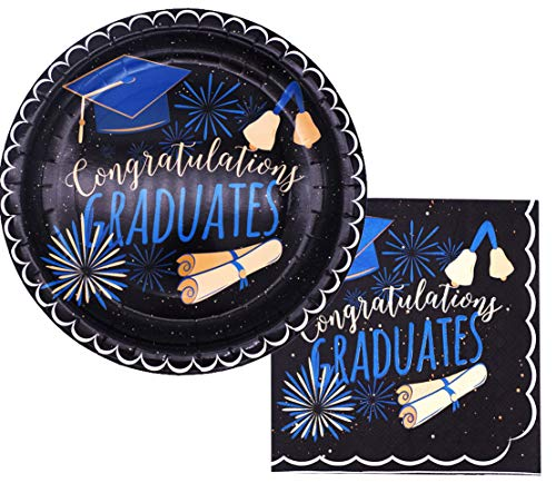 Graduation Plates and Napkins 2019 Graduation Plates Graduation Party Supplies Set for Grad Celebration Serves 16]()