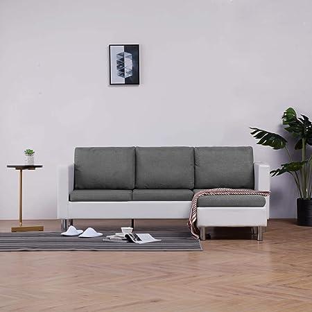 Divano Angolare Ecopelle Bianco.Festnight Divano Angolare Moderno A 3 Posti In Ecopelle Bianco