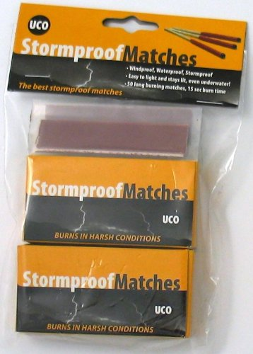 UCO Stormproof Matches, Waterproof and Windproof with 15 Second Burn Time - 50 Matches