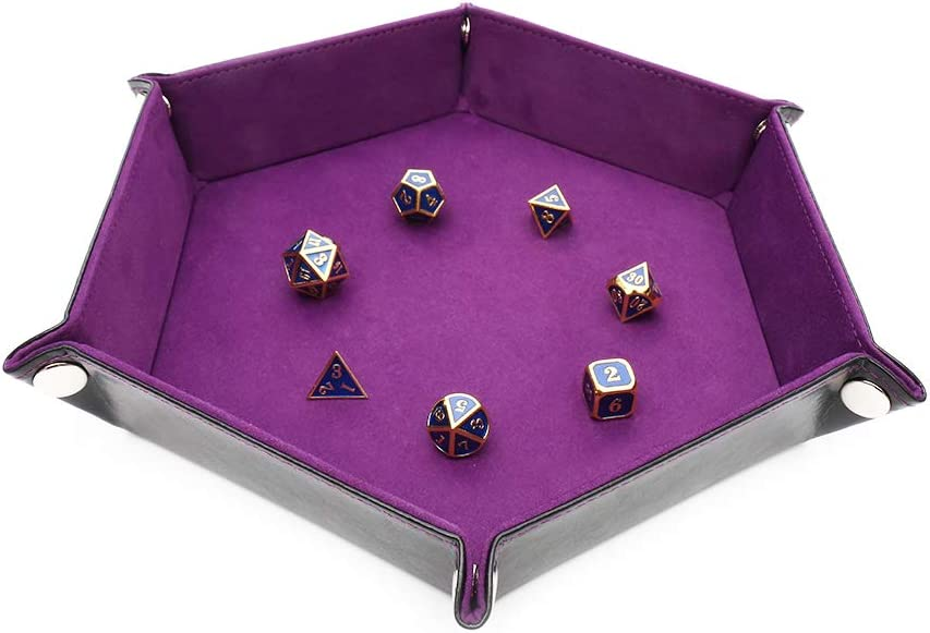 STYLIFING Dice Tray Metal Dice Rolling Tray for RPG, DND and Other Table Games, Holder Storage Box for Dice Set, Double Sided Folding Rectangle PU Leather and Purple Velvet