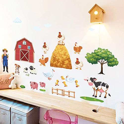 Linker Wish Cow Wall Stickers Cartoon DIY Farm Animals Wall Stickers for Living Room Bedroom Duck Pig Hen Cows Tree Wall Decals Poster Mural ()