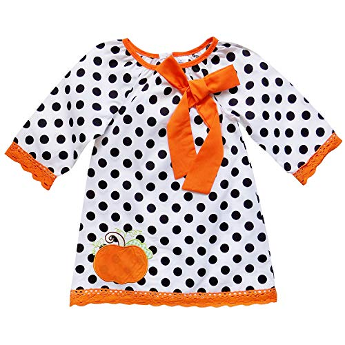 So Sydney Girls or Toddler Fall Holiday Polka Dot, Scroll, Stripe Pumpkin Dress (M (4T), Polka Dot -