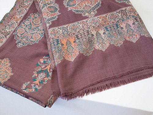 Wine Red Shawl Large Hand-Cut Kani Gold Jamavar Paisley Wool with Fine Details by Heritage Trading (Image #5)